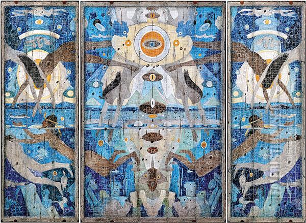 Дмитрий Санджиев. Голубой скол. Триптих. 1996. Холст, смешанная техника. 99х40. 99х72. 99х40