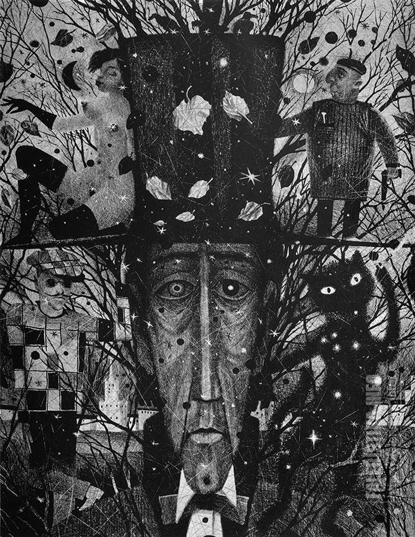Дмитрий Санджиев. Воланд, из цикла «Мастер и Маргарита». 1997. Автолитография. 79х60