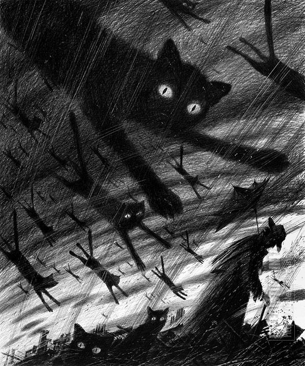 Дмитрий Санджиев. Кошкопад, из серии «Сны». 1996. Бумага, карандаш. 68х56