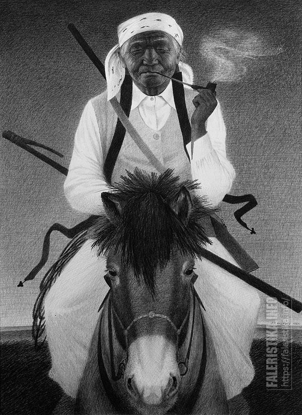 Самая известная работа Дмитрия Санджиева. Вдова чабана. 1981. Бумага, карандаш. 70х50