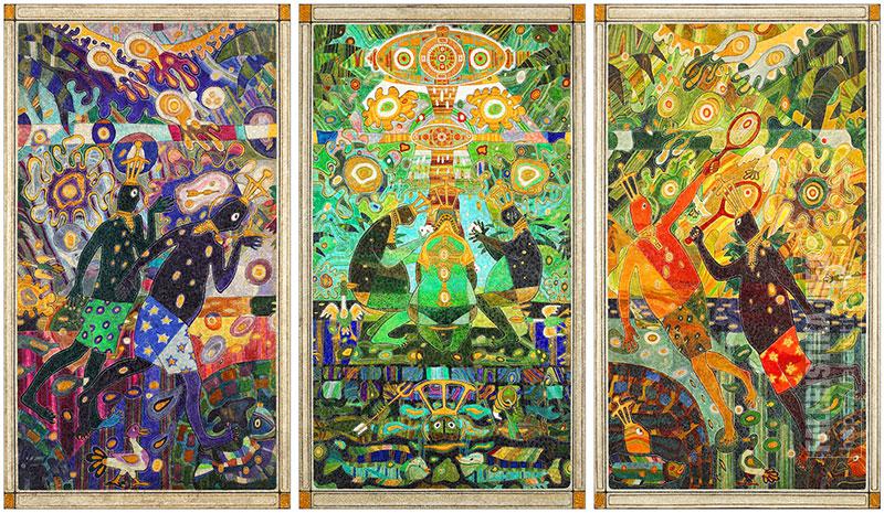 Дмитрий Санджиев. Отдых инопланетян. Триптих. Дерево, левкас, авторская техника. 250х140 (каждая)