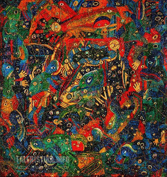 Дмитрий Санджиев. Глубокомудрствующие бакалавры из созвездия Большой Рыбы. 2000. Холст, смешанная техника. 200х180