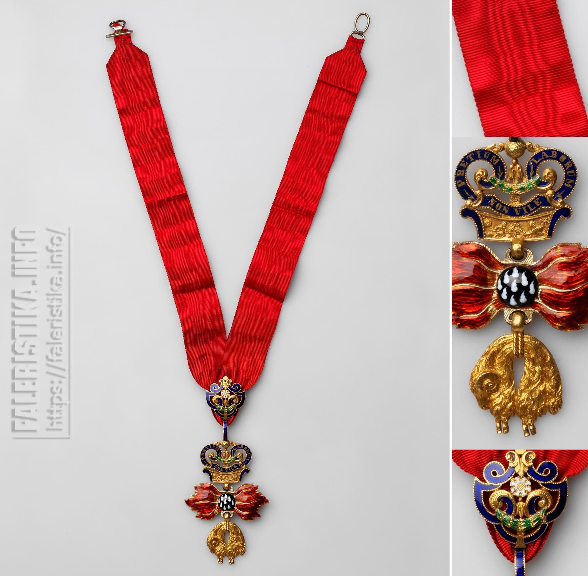 Орден Золотого Руна (нем. Orden vom Goldenen Vlies). Знак ордена на шейной ленте. Австрийская империя. Вена, 1820—1840-е гг. Золото, серебро (застёжка ленты), муар; штамп, эмаль, гильошировка, ткачество, монтировка. Знак – 8,9х5,2; брошь-зажим – 2,7х2,4; лента – 47х2,6. Коллекция А.Л. Хазина
