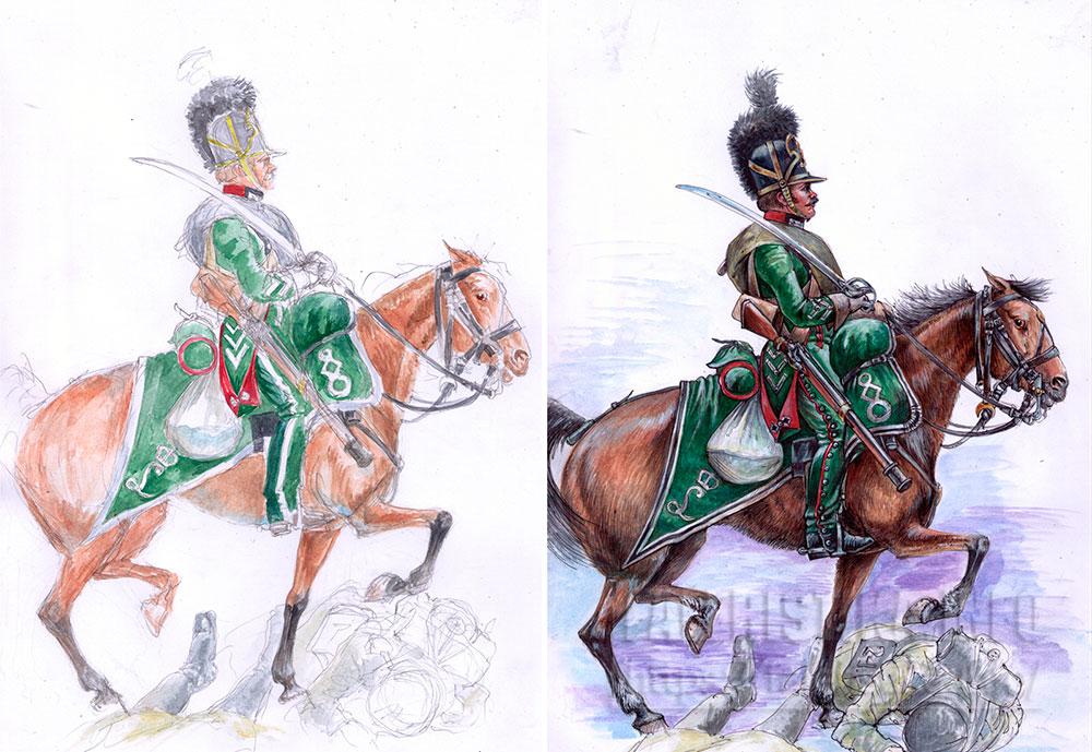 Шеволежер полка Гессен-Дармштадта в сражении на Березине. 1812 год