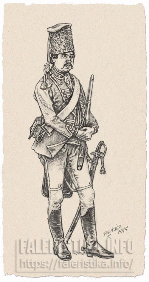 Боец украинского компанейского полка, XVIII век. Иллюстрация Роберто Паласиос-Фернандеса