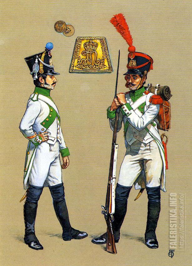Французский сержант 1-й фузилёрной роты и испанский гренадер. 1808-1812. Иллюстрация Роберто Паласиос-Фернандеса.