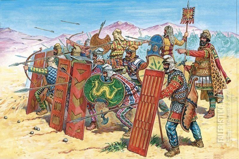 Персидская пехота. Бокс-арт для солдатиков фирмы «Звезда». Иллюстрация Роберто Паласиос-Фернандеса