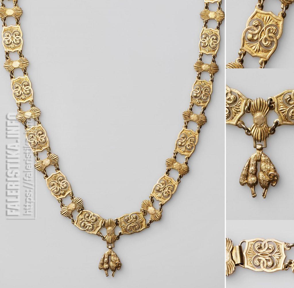 Цепь ордена Золотого Руна (Ordre de la Toison d'or) со знаком. Испания. Мадрид (?), первая треть XX в. Серебро; штамп, гравировка, золочение, монтировка. Цепь — 95х2,9, знак — 3,4х2,5. Коллекция А.Л. Хазина