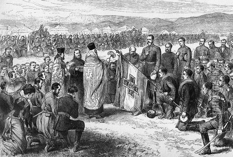 Э. Даммюллер. Гравюра на тему Русско-Турецкой войны «Освящение в Плоештах болгарского знамени, поднесенного городом Самарой 6 мая 1877 года». 1877
