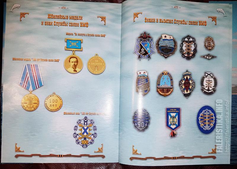 Страница со знаками из коллекции А.Ф. Зальмарсона в книге «Сто лет Службе связи Военно-морского флота России. 1909-2009»