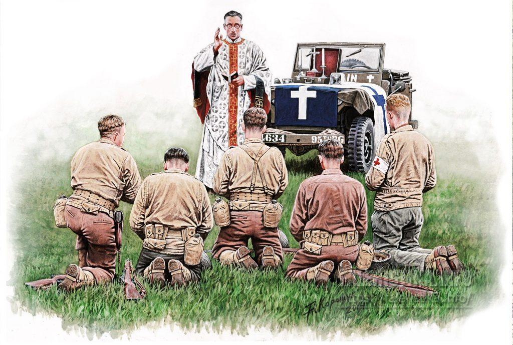 Андрей Каращук. Полевая католическая месса в армии США, Европейские театр боевых действий,1944. Bronco Models