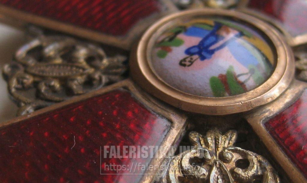Орден Святой Анны 2-ой степени. Клеймо АК. Альберт Кейбель, СПб. Фрагмент с медальоном