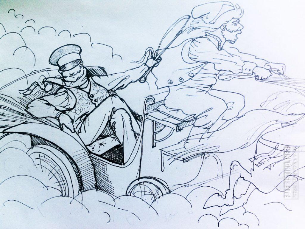№1 Основа: Павел Иванович и Селифан? (в коляске Илья Ульянов, а в кучер немного похож на самого Алексея Темникова)