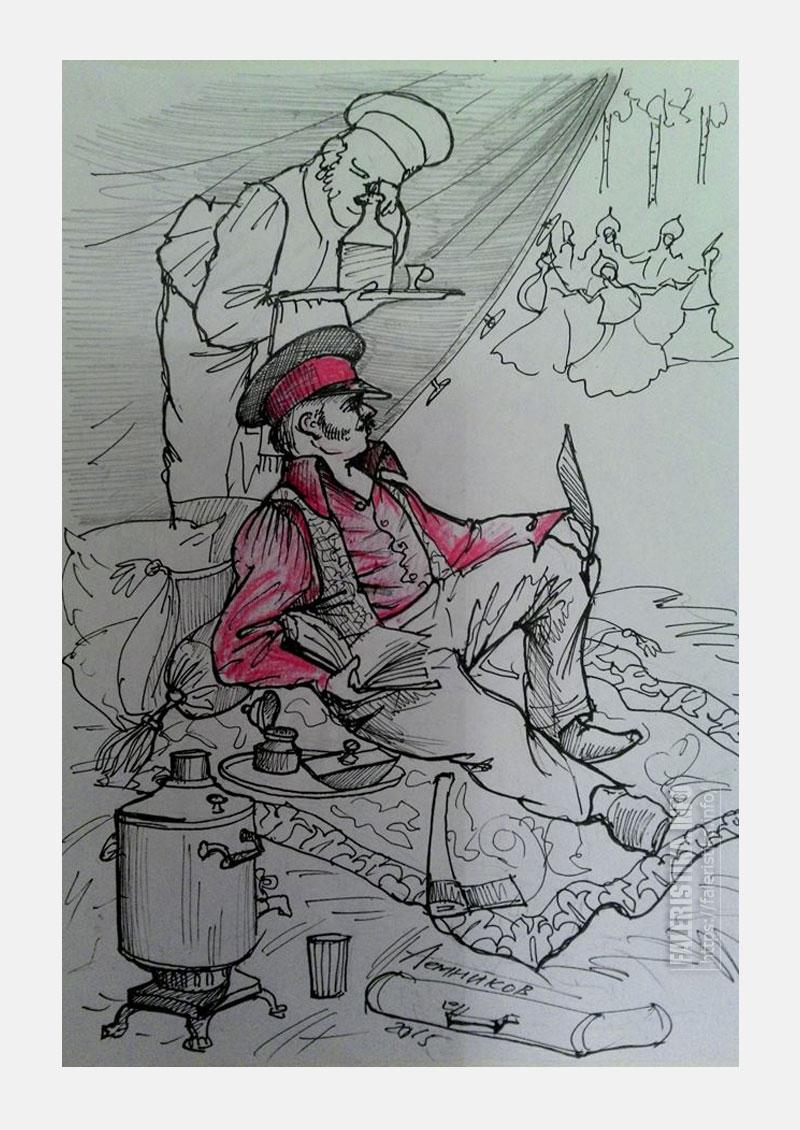 Про Барина (Илью Ульянова). Рисунок Алексея Темникова
