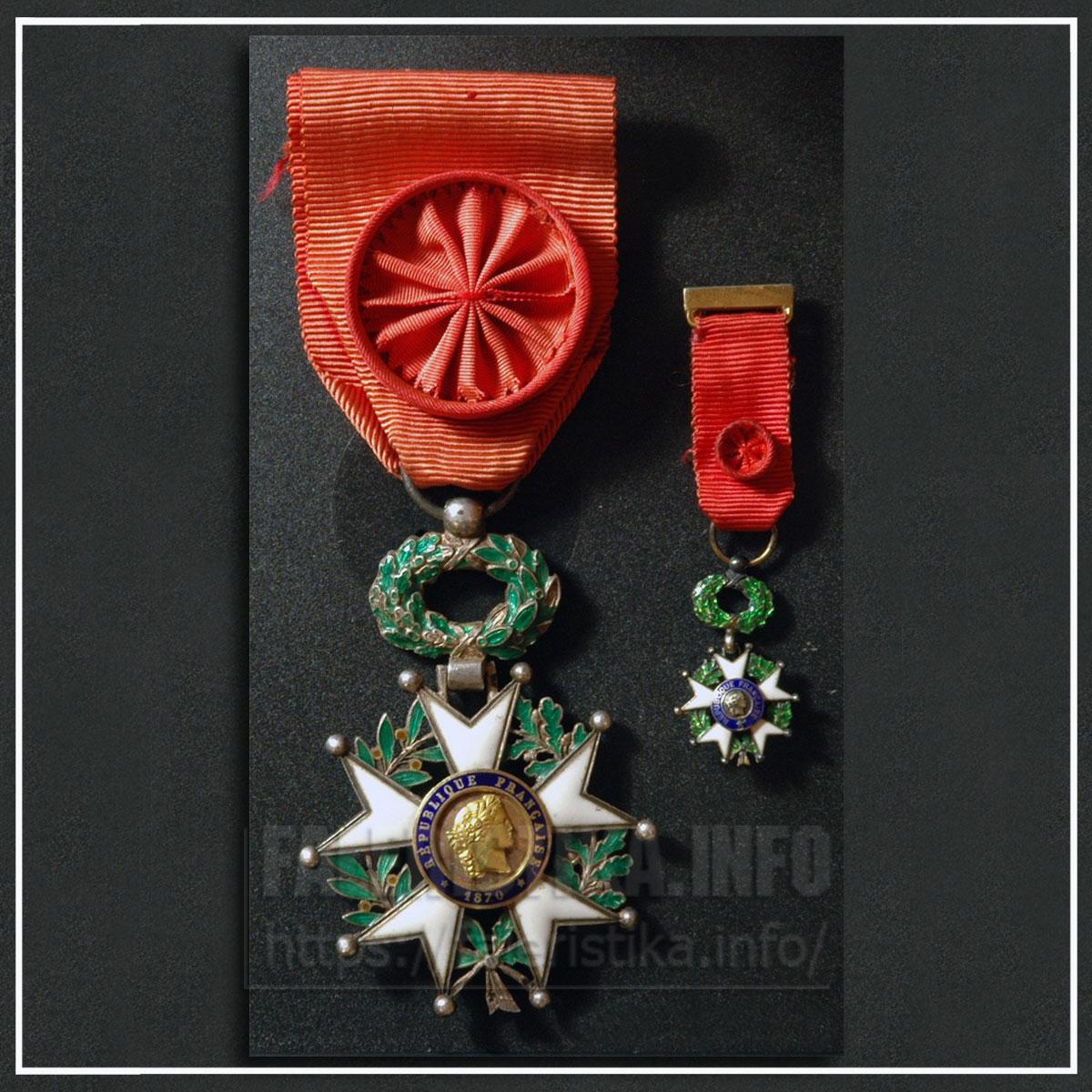 Третья Французская республика (1870 — 1940). Знак ордена Почётного легиона (офицер) с миниатюрой