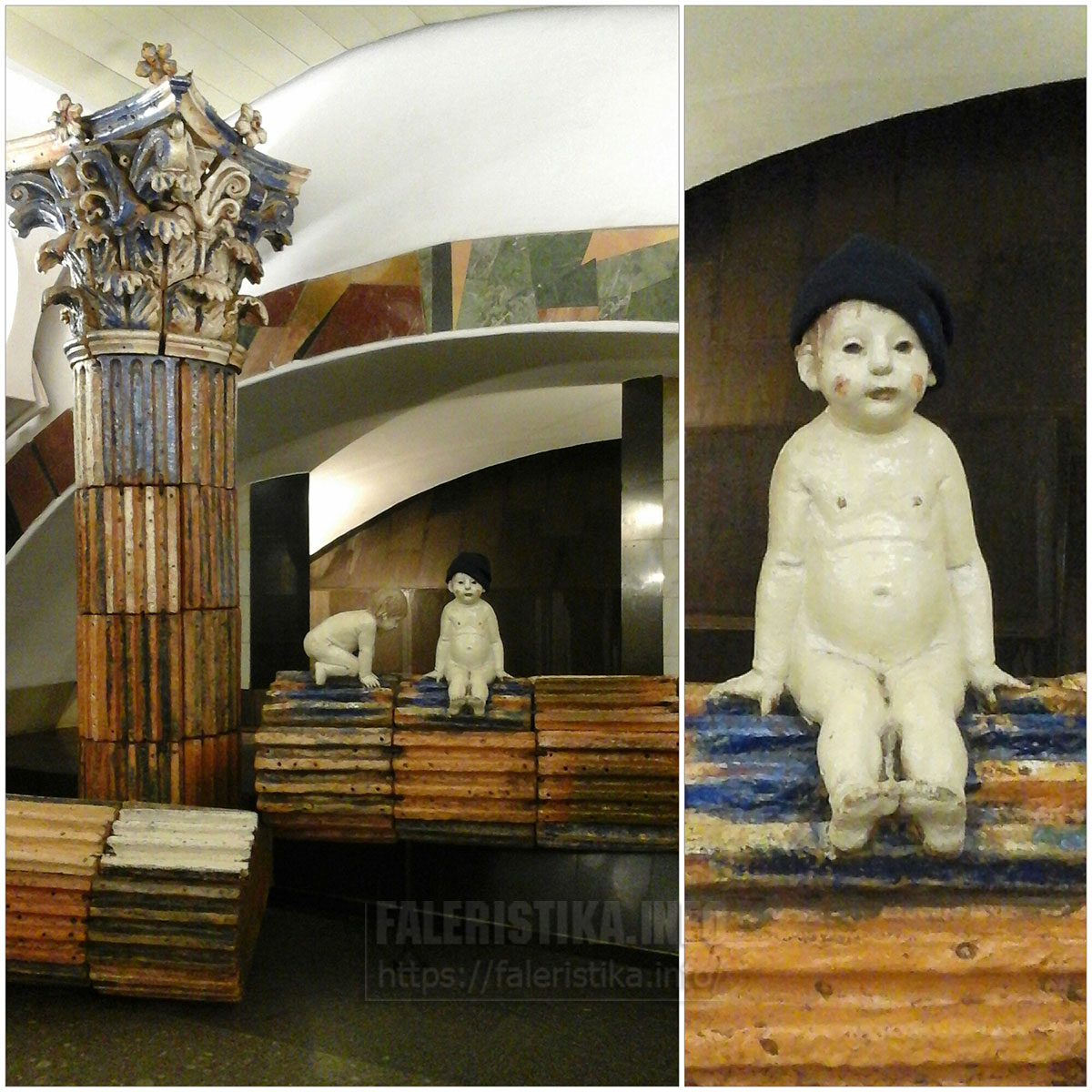 """Москва. Станция метро """"Римская"""". Ромул и Рем. Ничего такого -- два голых ребёнка на стройке. Но когда одному из них надели шапку -- он стал стильным пацаном!"""
