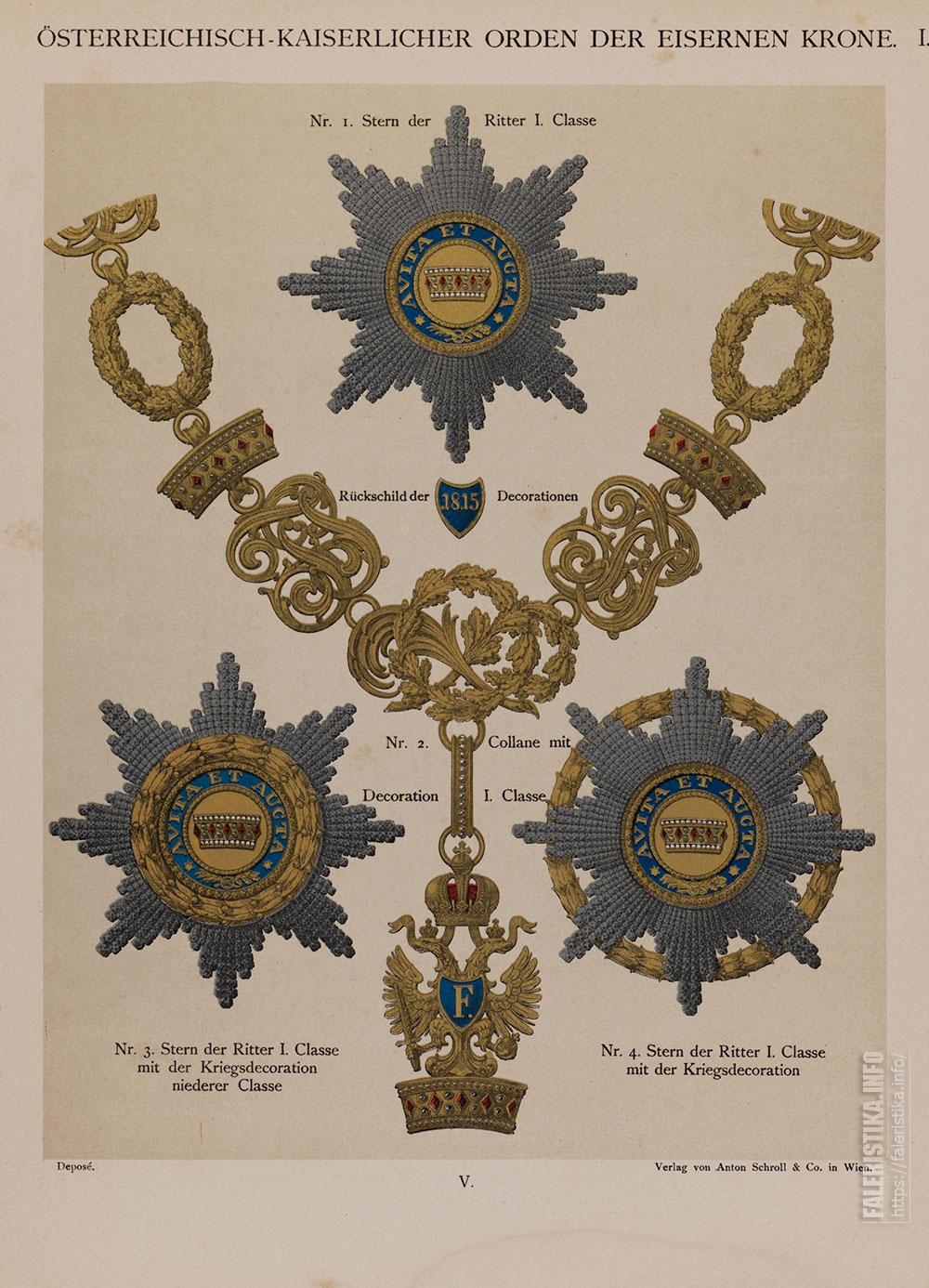С цветной хромолитографии. Орден Железной Короны. Знаки