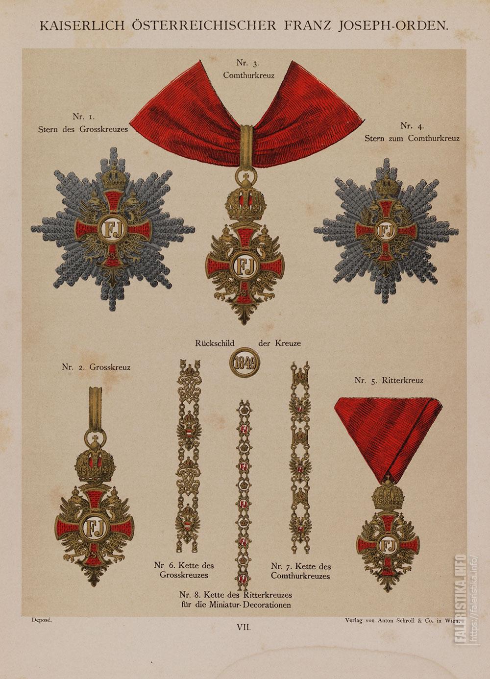 С цветных хромолитографий. Орден Франца Иосифа. Знаки. Миниатюрные цепочки, установленные для Большого (слева), Рыцарского Крестов Ордена Франца Иосифа (в середине), Командорского (справа)