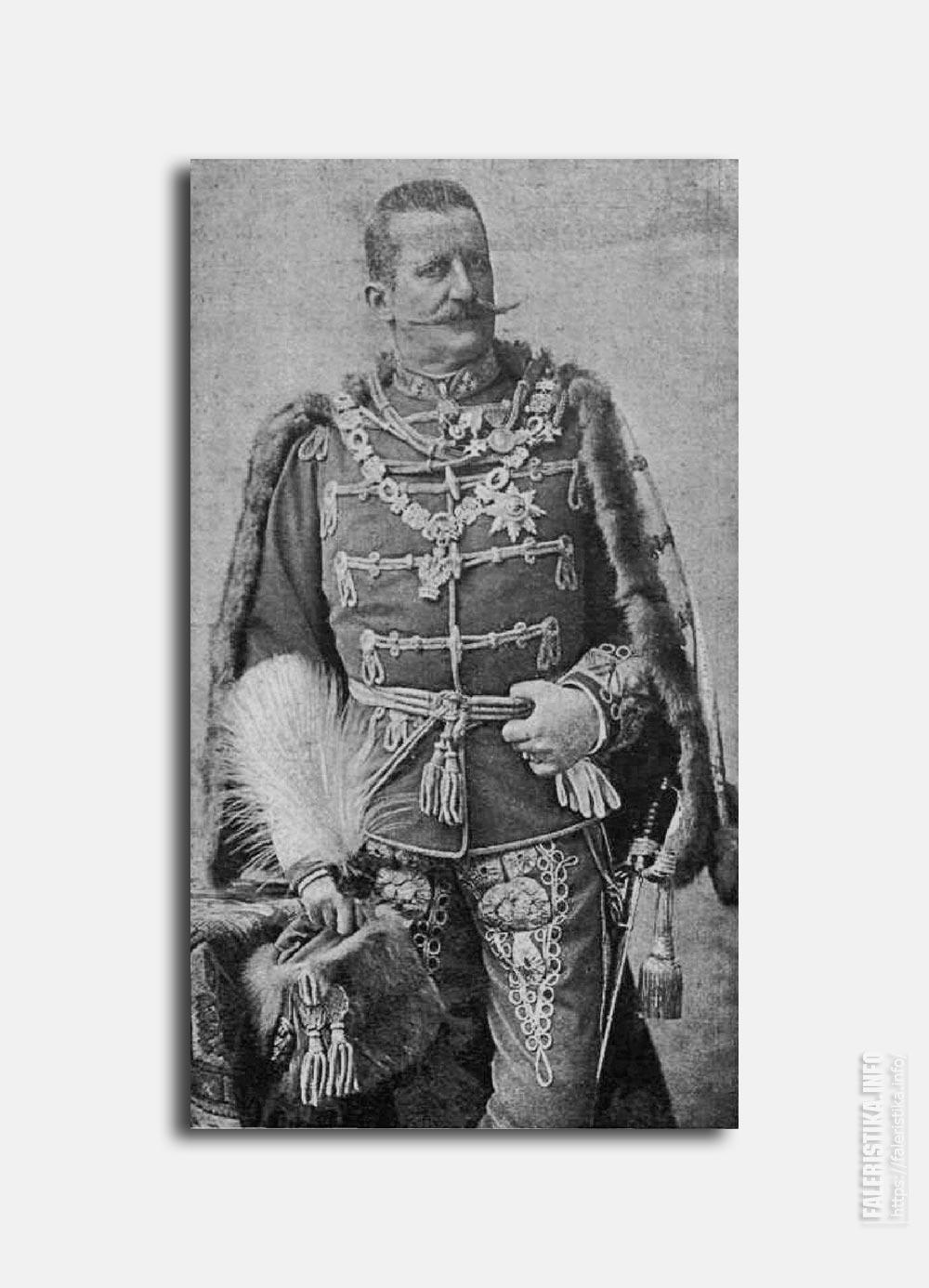 Фельдцехсмейстер Геза Фейервари де Комлош-Керестеш, премьер-министр Венгерского Королевства. Пример ношения знаков Большого Креста Ордена Железной Короны. Цепь, знак, звезда