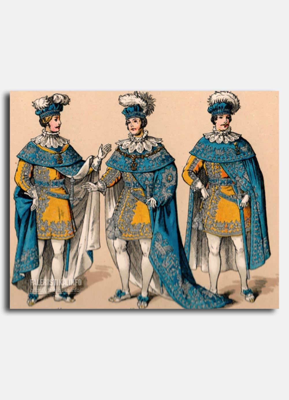 Орден Железной Короны. Церемониальные одежды. Слева направо: Командор Ордена, кавалер Большого Креста Ордена, Рыцарь Ордена