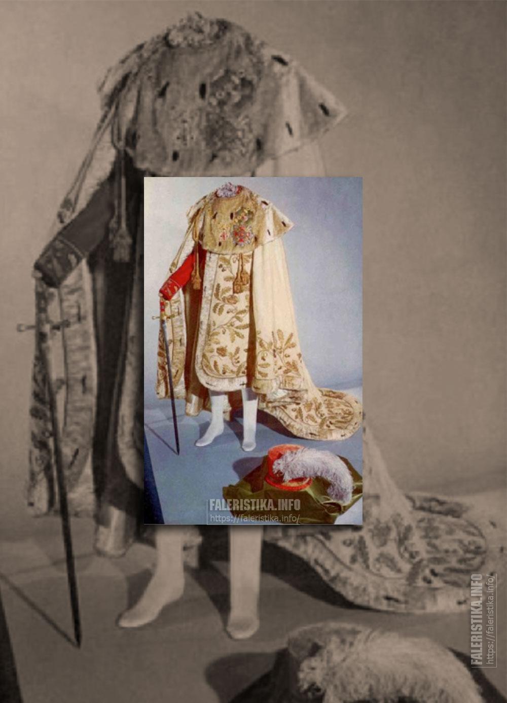 Орден Леопольда. Церемониальные одежды. Цепь. Знак. Также на мантии представлена мантийная звезда Ордена Марии Терезии