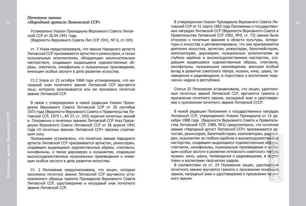 """Почётное звание """"Народный артист Литовской ССР"""""""