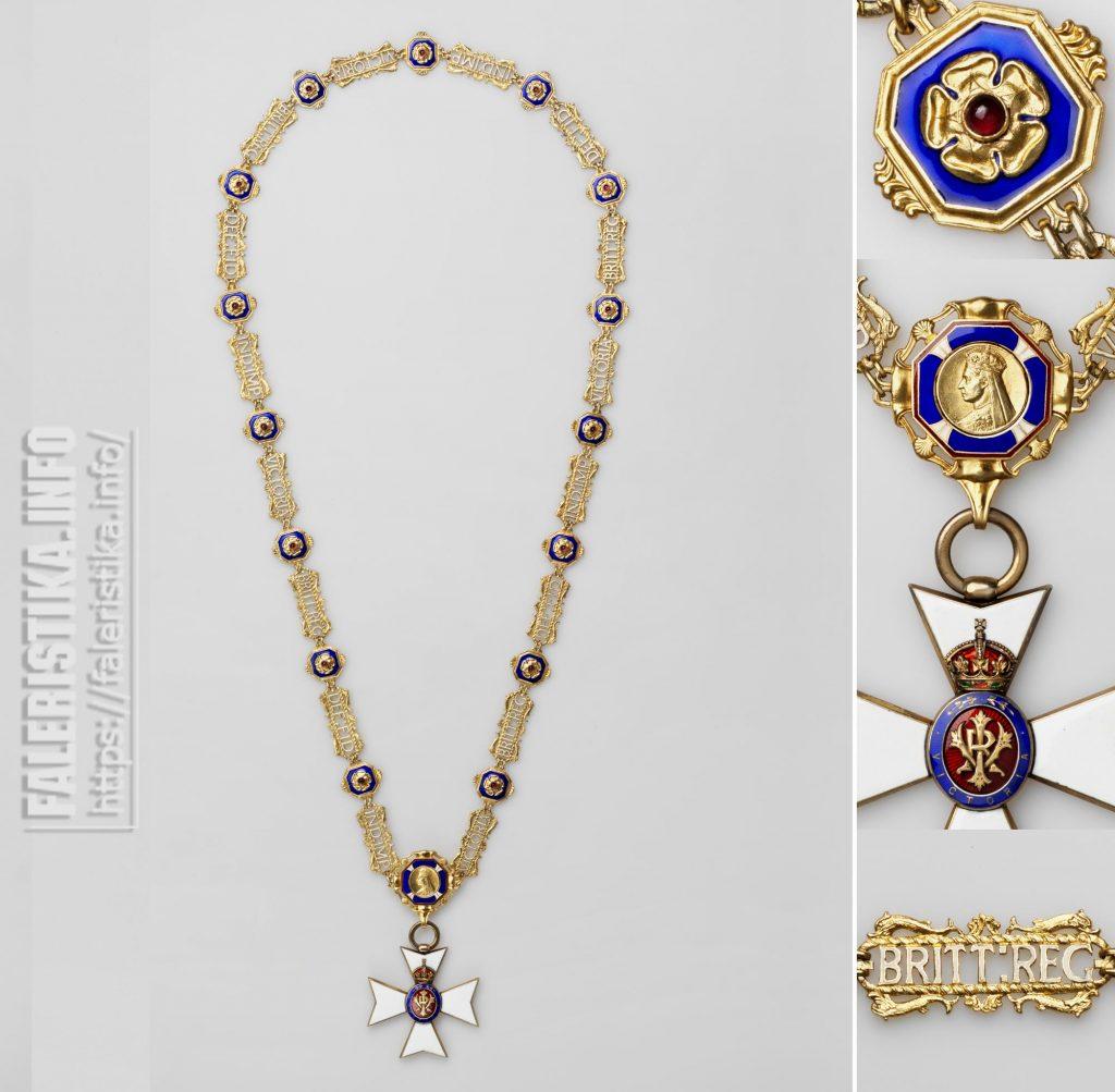 Королевский Викторианский Орден. Цепь Дам Большого Креста. На цепь ошибочно помещён знак Рыцаря Большого Креста Ордена - различие в размере соединительного кольца