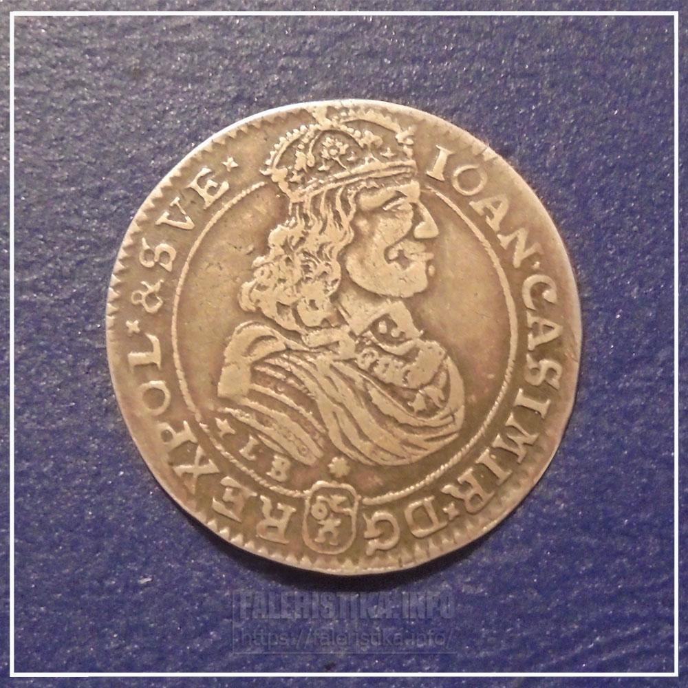 Портрет Яна-Казимира на 18-ти грошах 1668 года. Аверс