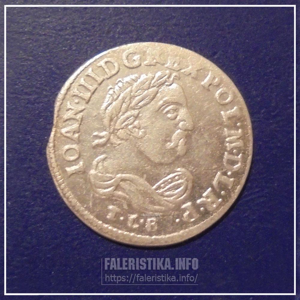 Инициалы Тита Ливия Боратини на 6 грошах Яна Собесского 1684 г.