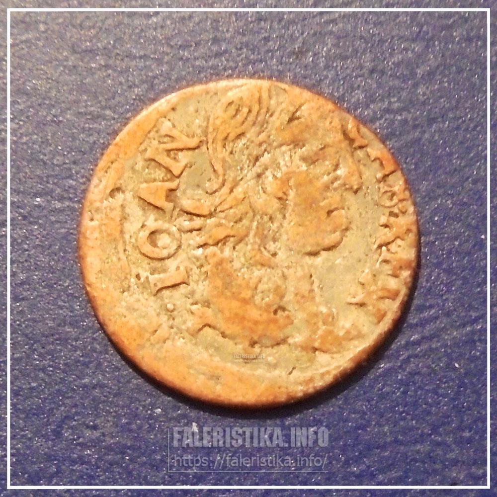 Подлинный коронный солид 1663 г., посеребрённый мошенниками. Аверс