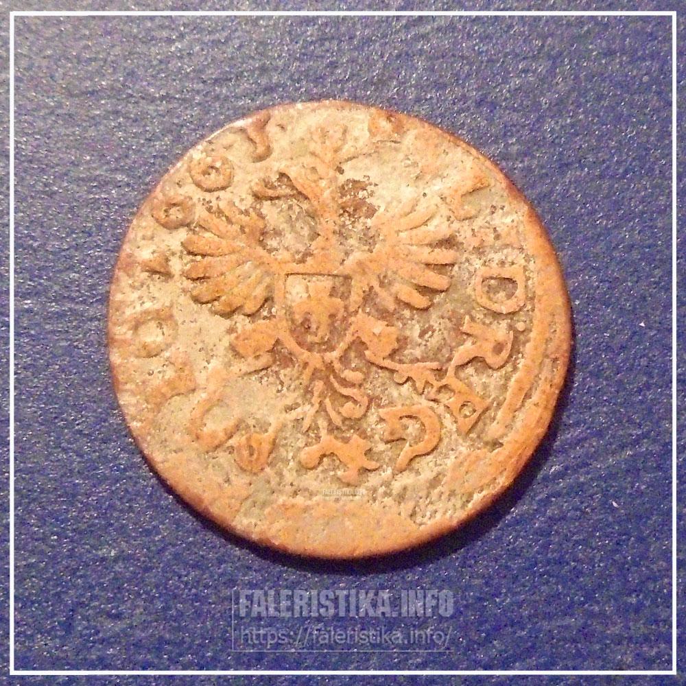 Подлинный коронный солид 1663 г., посеребренный мошенниками. Реверс