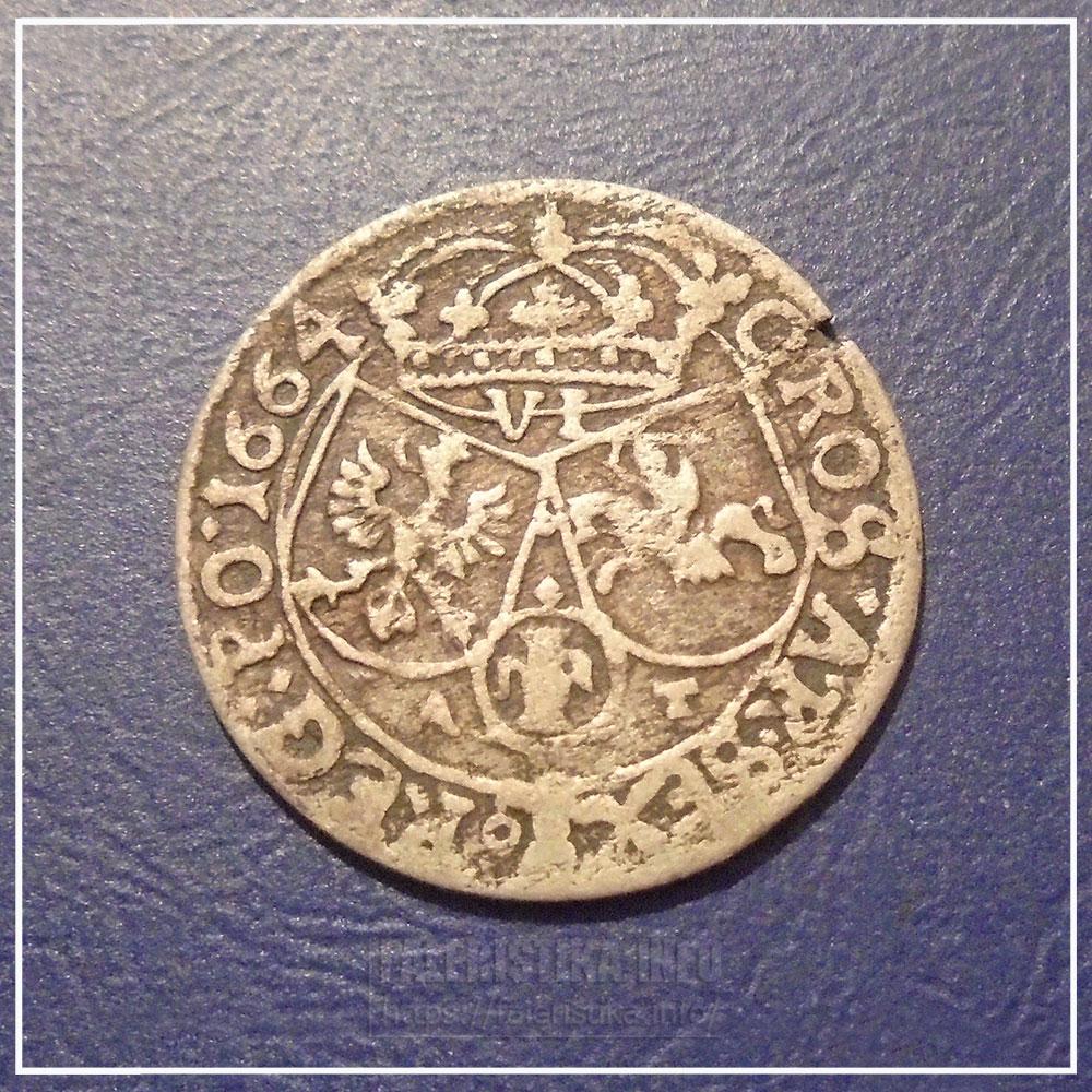 Шесть грошей 1664 г. с инициалами А. Тымфа. Реверс