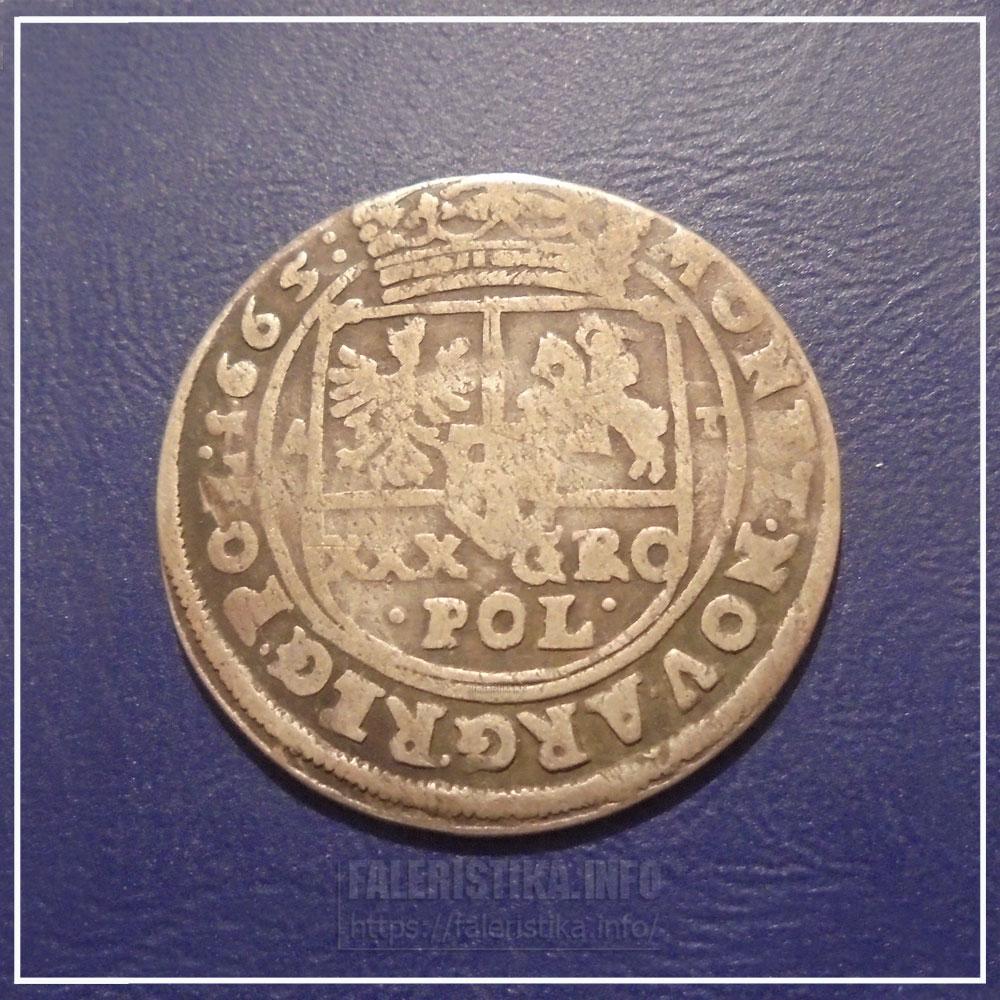 30 грошей Тымфа 1665 г.. Реверс
