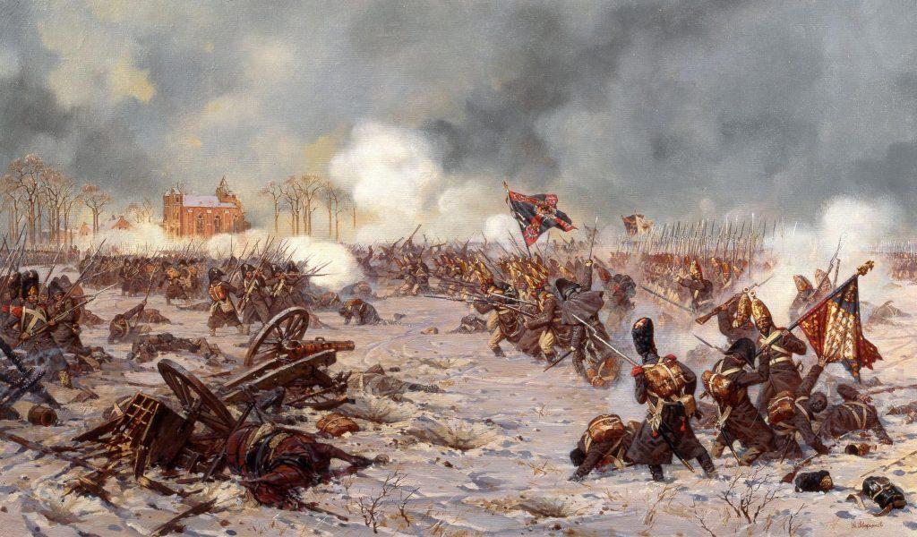 Сражение под Прейсиш-Эйлау 27 января (8 февраля) 1807 года. Атака Московского полка. Александр Юрьевич Аверьянов