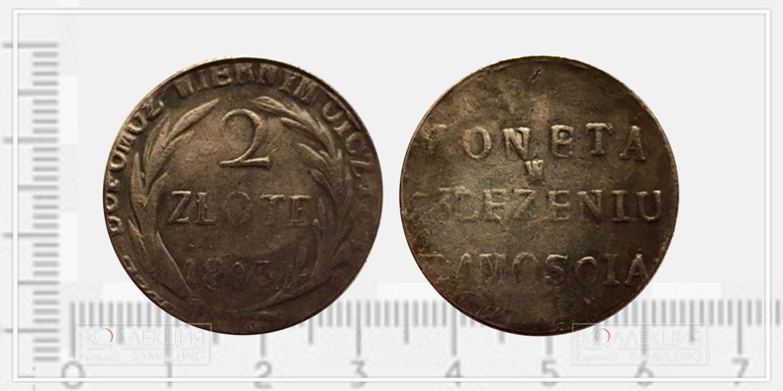 2 (Два) злотых Польша, 1813 (Moneta w oblężeniu Zamościa, 1813 - Монета в осаде Замостья, 1813), копия